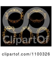 Clipart Ornate Golden Oval Frames On Black Royalty Free Vector Illustration