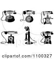 Clipart Retro Black And White Vintage Desk Telephones Royalty Free Vector Illustration