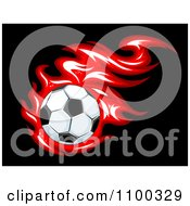 Clipart Shiny Soccer Ball And Red Flames On Black Royalty Free Vector Illustration