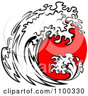 Clipart Black And White Splashing Wave And Red Sun Royalty Free Vector Illustration by Vector Tradition SM