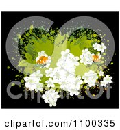 Clipart White Spring Blossoms Over Green Grunge With Butterflies On Black Royalty Free Vector Illustration by creativeapril