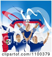 Clipart Crowd Of Cheering Hatian Soccer Fans With Flags And Banners Royalty Free Vector Illustration by creativeapril
