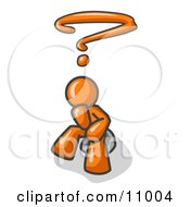 Confused Orange Business Man With A Questionmark Over His Head Clipart Illustration by Leo Blanchette #COLLC11004-0020