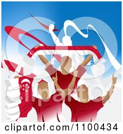 Clipart Crowd Of Cheering Singapore Soccer Fans With Flags And Banners Royalty Free Vector Illustration