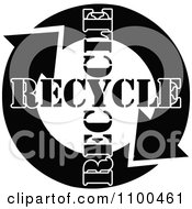 Black And White Recycle Arrows And Text Flowing In A Circle