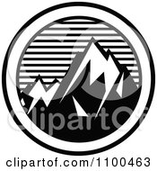 Clipart Black And White Snow Capped Mountains With Horizontal Lines In A Circle Royalty Free Vector Illustration