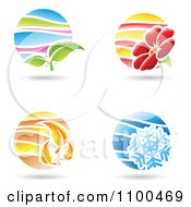 Clipart Circular Spring Summer Autumn And Winter Season Icons Royalty Free Vector Illustration