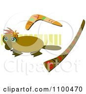 Clipart Platypus With A Boomerang And Didgeridoo Royalty Free Vector Illustration by bpearth