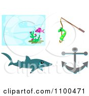 Fish Background Shark Worm On A Fishing Hook And Anchor