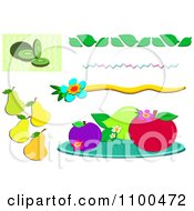 Clipart Kiwi Pears Fruits And Borders Royalty Free Vector Illustration by bpearth
