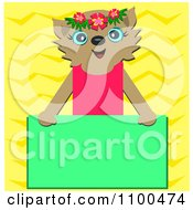Happy Cat Over A Green Rectangular Sign Over Yellow Zig Zags