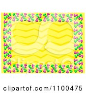 Pink And Green Confetti Frame Around Yellow Zig Zags