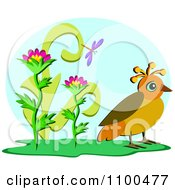 Clipart Quail Bird By Flowers And A Dragonfly Against A Blue Oval Royalty Free Vector Illustration by bpearth