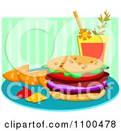 Hamburger With Orange Slices Ketchup Mustard And A Beverage Over Green Stripes