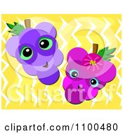 Clipart Happy Grapes Over Yellow Zig Zags Royalty Free Vector Illustration by bpearth