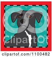 Folk Art Styled Mixed Breed Dog Looking Out Through A Red Black And White Frame With A Turquoise Background