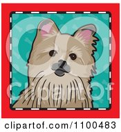 Folk Art Styled Pomeranian Dog Looking Out Through A Red Black And White Frame With A Turquoise Background