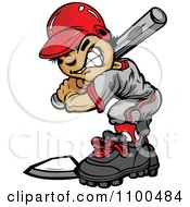 Clipart Tough Baseball Boy At Bat Royalty Free Vector Illustration