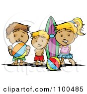 Clipart Surfer Girl And Boys With A Board And Beach Balls Royalty Free Vector Illustration
