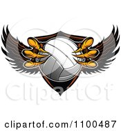 Clipart Eagle Talons Grabbing A Volleyball And A Winged Shield Royalty Free Vector Illustration by Chromaco #COLLC1100487-0173