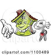 Clipart Happy Green House Mascot Holding Out Keys Royalty Free Vector Illustration