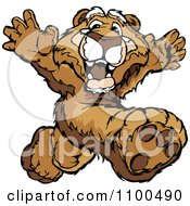 Clipart Athletic Cougar Mascot Running Track Royalty Free Vector Illustration