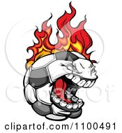 Screaming Aggressive Soccer Ball Mascot On Fire