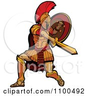 Clipart Spartan Warrior Mascot Stabbing And Holding His Shield To The Side Royalty Free Vector Illustration