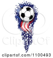 Clipart Soccer Ball Flying With A Trail Of American Stars And Stripes Royalty Free Vector Illustration by Chromaco