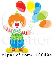 Clipart Happy Clown Waving And Holding Party Balloons Royalty Free Vector Illustration by Alex Bannykh