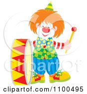 Clipart Happy Clown Playing A Drum Royalty Free Vector Illustration by Alex Bannykh
