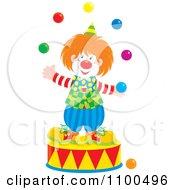 Happy Clown Juggling On A Podium