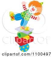 Clipart Happy Clown Balancing On A Stack Of Shapes Royalty Free Vector Illustration by Alex Bannykh
