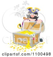 Clipart Pirate Kneeling Behind And Opening A Treasure Chest Full Of Booty And Gold Royalty Free Vector Illustration by Alex Bannykh