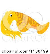 Clipart Cute Orange Cuttlefish Royalty Free Vector Illustration by Alex Bannykh