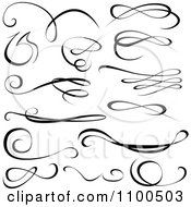 Clipart Black Swirl Calligraphic Design Elements Royalty Free Vector Illustration by dero