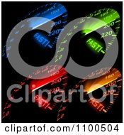 Clipart Blue Green Red And Orange Fast Car Speedometers Illuminated On A Dash Board Royalty Free Vector Illustration by dero