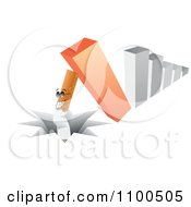 Clipart 3d Bar Graph Toppling Over And Sending A Cigarette Into A Crack Royalty Free Vector Illustration