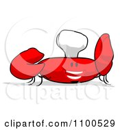 Clipart Cartoon Chef Crab Holding A Sign 5 Royalty Free Illustration
