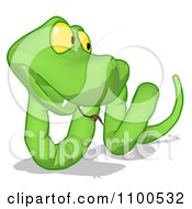 Clipart Green Snake Looking Right Royalty Free CGI Illustration
