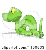 Clipart Green Snake Looking Left Royalty Free CGI Illustration