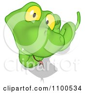 Clipart Green Snake Looking Up Royalty Free CGI Illustration