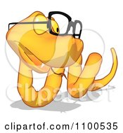 Clipart Yellow Snake Wearing Glasses Looking Right Royalty Free CGI Illustration