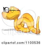 Clipart Yellow Snake Wearing Glasses Looking Left Royalty Free CGI Illustration