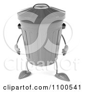 Clipart 3d Sad Trash Can Facing Front Royalty Free CGI Illustration