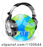 Clipart Blue And Green Globe Wearing 3d Noise Canceling Music Headphones Royalty Free Vector Illustration
