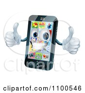 Clipart 3d Happy Cell Phone Character Holding Two Thumbs Up Royalty Free Vector Illustration