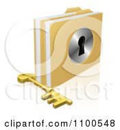 Clipart 3d Skeleton Key By Locked Secure Folders With A Key Hole Royalty Free Vector Illustration by AtStockIllustration