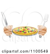 Clipart Hands Holding A Knife And Fork With A Supreme Pizza Pie Royalty Free Vector Illustration by AtStockIllustration