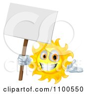 Clipart Happy Sun Holding A Sign Royalty Free Vector Illustration by AtStockIllustration